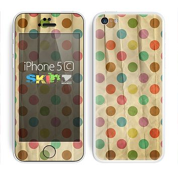 The Vintage Tan & Colored Polka Dots Skin for the Apple iPhone 5c