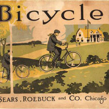 Bicycle Sears Roebuck Vintage Ad Poster