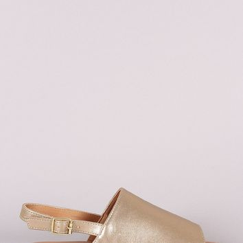 Qupid Vegan Leather Peep Toe Slingback Flat Sandal