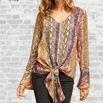 Snakeskin Tie Front Blouse - Multicolor - Small only