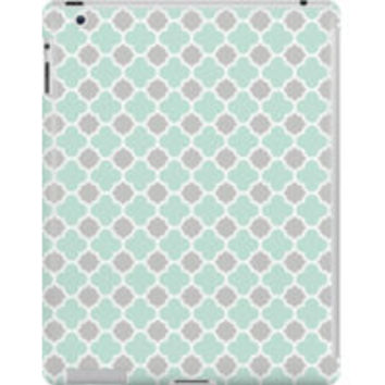 Mint Green White and Grey Quatrefoil Pattern by TigerLynx