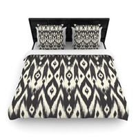 "Amanda Lane ""Black Cream Tribal Ikat"" Tan Dark Woven Duvet Cover"