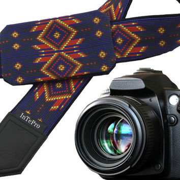 Insp. by Native American Camera strap with pocket.  Southwestern Camera strap.  Blue and black Camera Strap. Camera accessories for everyone