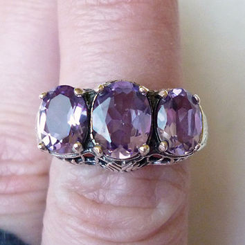 Gorgeous 3 Stone Amethyst Antique Ring in Sterling Silver Size 7 // Edwardian Victorian Filigree Precious Gemstone Art Nouveau Deco 3 Carat