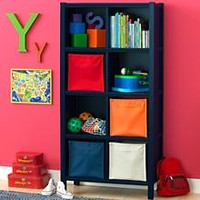 Kids' Bookcases: Kids 8-Cube Blue Wooden Bookcase in Bookcases | The Land of Nod