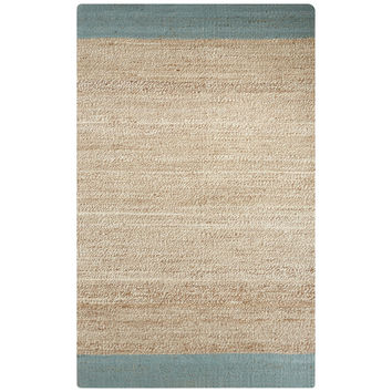 Naturals Border Pattern Blue/Natural Jute Area Rug (2x3)