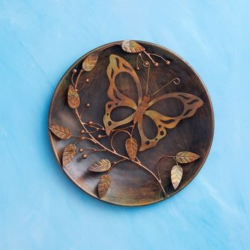 "12"" Butterfly on Branch Raised Wall Disc - New item! Pre-order for August!"