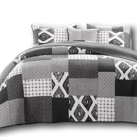 DaDa Bedding Classical Shades of Grey Geometric Cotton Patchwork Bedspread Set (JHW-606)