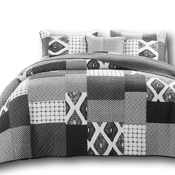 DaDa Bedding Classical Shades of Grey Patchwork Bedspread Set (JHW-606)