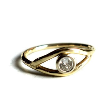 14k Gold Diamond Eye Ring