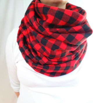 Red Buffalo Plaid Infinity Scarf, Flannel Scarf, Chunky Scarf, Womens Scarf,Mens Scarf, Oversized Scarf, Classic Check,Extra Long & WideGift