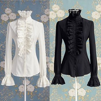 Victorian Women OL Office Lady T-Shirt Tops High Neck Ruffle Cuffs Button Down Shirt Blouse for Steampunk Cosplay