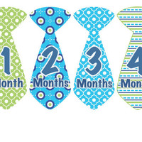 Monthly Onesuit Stickers Boy Baby Month Stickers Blue Green Tie Stickers Monthly Onesuit Sticker Baby Shower Gift Photo Prop Emmett