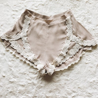 A Pair of Lace Front Shorts in Mocha