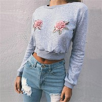 Women Embroidered Round Neck Long-Sleeved Sweater
