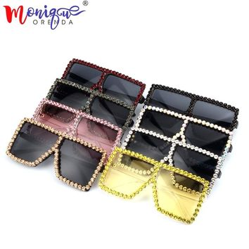 9 color 2018 Oversize Sunglasses Women Luxury Rhinestone Yellow Pink Sunglasses Vintage shades for women