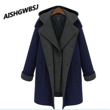 AISHGWBSJ2017 New Europe Winter Women loose Wool Blended Jacket hooded long sleeve thickening double-breasted Coat plus size W13