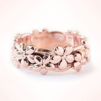 Genuine Solid 14K Rose Gold Floral Ring Lucky Daisy Plum Blossom Cherry Flower Jewelry Anniversary Proposal Gift Party Infinity