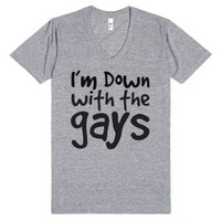 Down with the gays (V-neck)-Unisex Athletic Grey T-Shirt