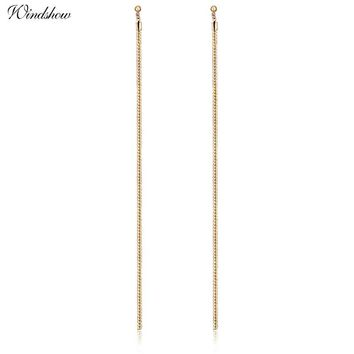 New Extra Long 18.5cm/7' Over the Shoulder Gold Color Flat Snake Chain Drop Dangle Earrings For Women Girls Jewelry Aros Aretes