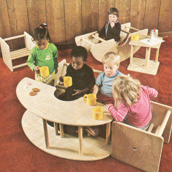DIY Pattern Tutorial Mix Match Children's Furniture Carpentry Tables See Saw Chair Bed Plywood Playground Day Care Child Centre Kindergarten