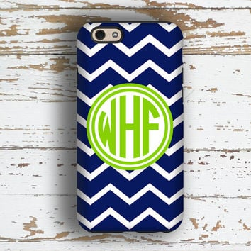 Monogram Iphone 5s case, Chevron Iphone 6s case, Cute iPhone 5c case, Gifts for her, Preppy Iphone 6 Plus case, Navy blue lime green (9760)