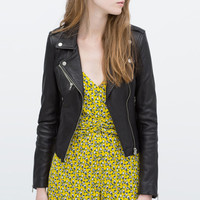 Faux Leather Convertible Collar Jacket with Metallic Button