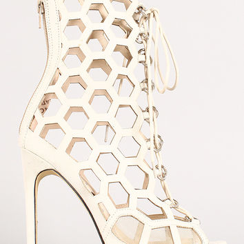 Fahrenheit Lenka-06 Honeycomb Cutout Lace Up Heel