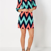 Neon Chevron Shift Dress