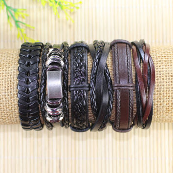 Leather Bracelets 6 Piece Mens Bracelets Leather Braclets for Women Leather Wrap Bracelets BST-550