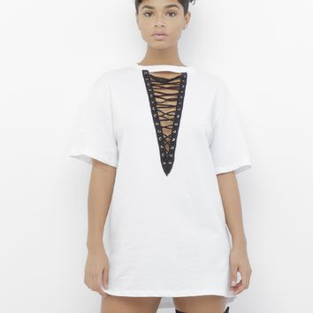 THE ROCKSTARRA LACE UP TEE