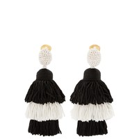 Tiered tassel-drop clip-on earrings | Oscar De La Renta | MATCHESFASHION.COM US