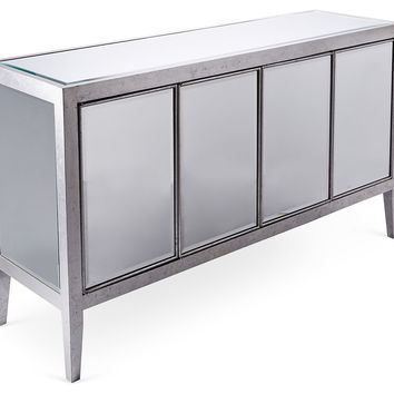 Lee Mirrored Buffet, Silver/Chestnut, Buffets & Sideboards