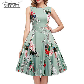 Hot Sale   Fashion Summer Dresses Sleeveless Printing Casual Dress Classic O-neck  Dresses LD07