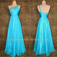 Gorgeous blue one-shoulder Beadings Floor-Length the prom dress from New Dresses