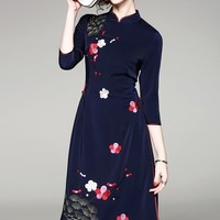 Floral Embroidered Qipao Dress W/ Lace