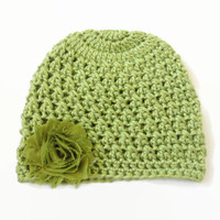 3-6 Month Baby Hat Green Flower