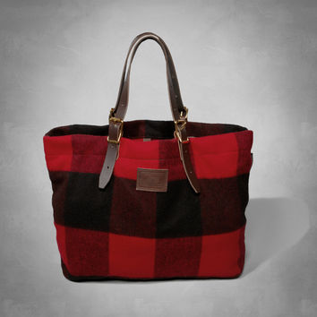 Woolrich with A&F Buffalo Check Shoulder Tote