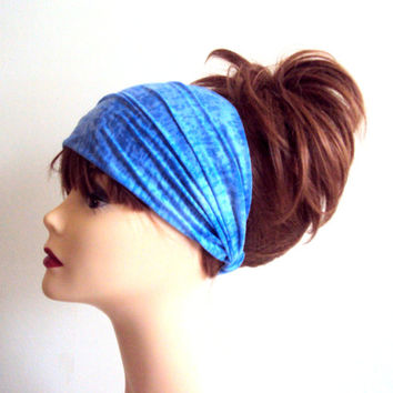 Tie Dye Blue Headband Yoga Bandana Elastic Back Burnout Gym Workout Running Fitness Beach Women Hair Accessories Dreadlock Rasta Head Band