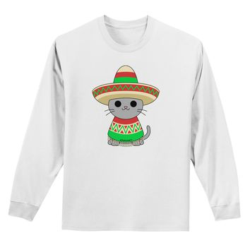 Cat with Sombrero and Poncho Adult Long Sleeve Shirt by TooLoud