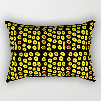 red and yellow polka dot- polka,polka dot,dot,pattern,circle,disc, point,abstract, minimalism Rectangular Pillow by oldking