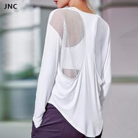 Mesh Sexy Back Patchwork Yoga Shirts for Women Long Sleeves Gym T- Shirts Top Loose U Neck Fitness Sports Tops Workout Clothes