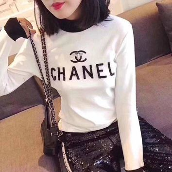 DCCK6HW Chanel' Women Fashion Multicolor Turtleneck Rhinestone Letter Bodycon Long Sleeve T-shirt Tops