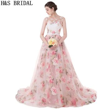 H&S BRIDAL Sweetheart prom dresses Sheer Straps Floral Print long Lace Applique Pearls Princess Evening Dresses vestido longo