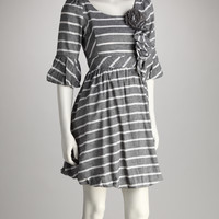 Gray & White Stripe Bubble Dress