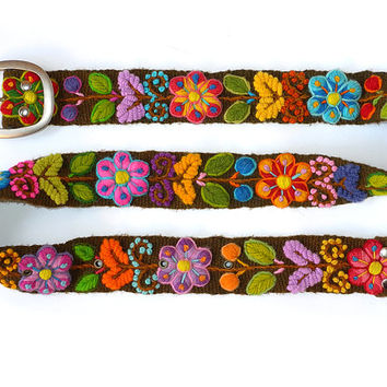Floral embroidered belt Brown, belt black, belt white, belt blue, belt hand embroidered wool, colorful belts, woman belts
