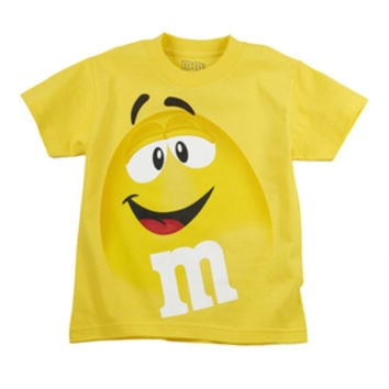 M&M's Candy Character Face T-Shirt - Youth - Yellow - Large