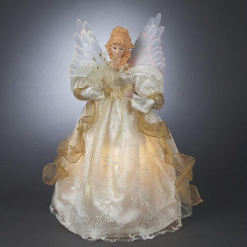 Angel Christmas Tree Topper - Fiber Optics Wings Move Back And Forth