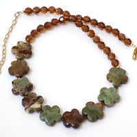 Green Necklace, Jasper Necklace, Brown Necklace, Handmade Necklace, Adjustable Necklace, Handcrafted Jewelry, Jewelry Set, Crystal Necklace