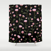 Peonies on Black Shower Curtain by Lisa Argyropoulos | Society6